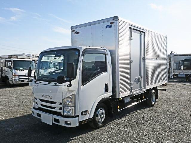 平成31年式 いすゞエルフ 小型アルミバン 標準ロング 全低床 左サイド扉 積載2t ETC、バックアイカメラ付 準中型免許 5t限定対応!