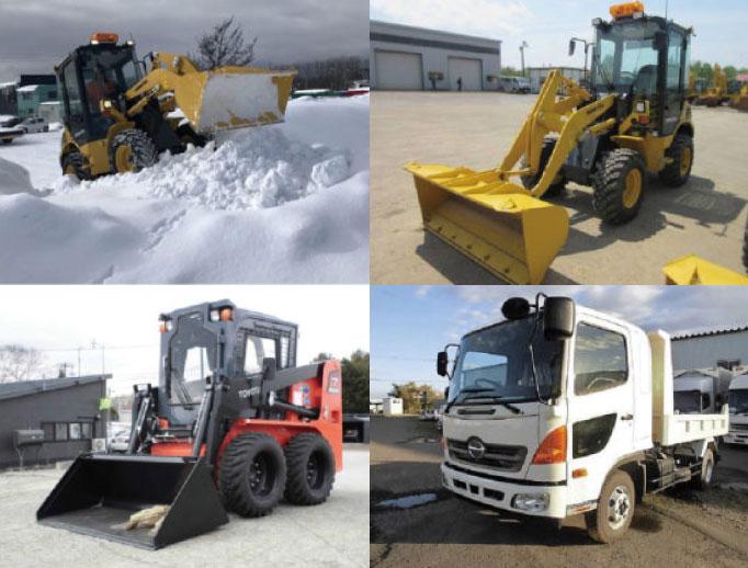 ホイールローダーの作業中の様子と除雪時活躍する車両
