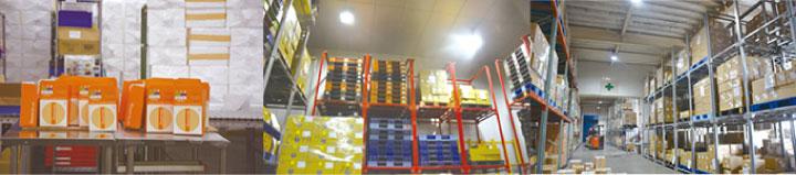 左から通販商品の発送作業場(ここで商品の梱包や出荷伝票の貼付けが行われる)と冷凍倉庫と常温倉庫